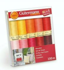Gutermann Sew All Thread set Reds/Pinks/Yellows 100m x 10 reels