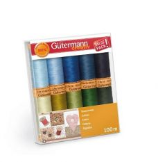 Gutermann Cotton Thread set Blues/Greens 100m x 10 reels