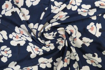 Lady McElroy Moonflower - Navy Blue Remnant 0.8m