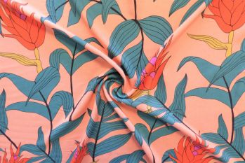 Lady McElroy Tropical Stems - Viscose Challis Lawn Faulty Remnant - 2.6m